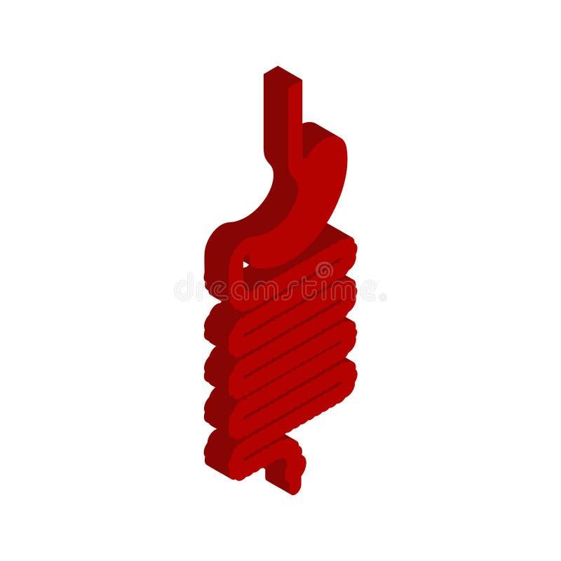 Żołądka i esophagus isometric odosobniony Wewnętrzny organ 3D ana ilustracji
