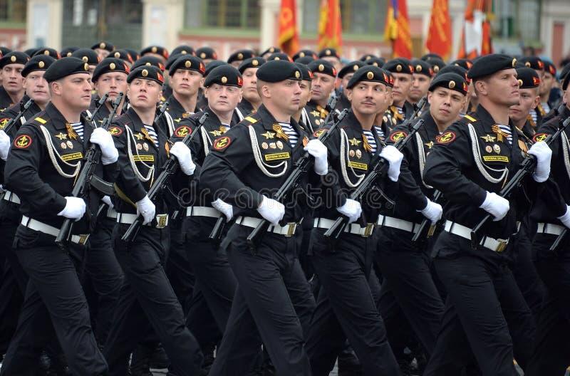 Żołnierz piechoty morskiej Kirkenes sztandaru korpus piechoty morskiej 61 Czerwona brygada nabrzeżne siły Północna flota podczas  obraz royalty free