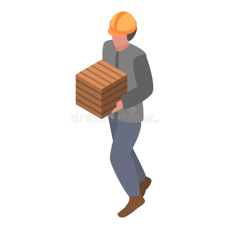 Żołnierz piechoty morskiej portowy pracownik z pudełkowatą ikoną, isometric styl royalty ilustracja