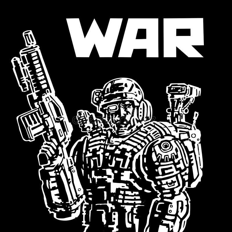 Żołnierz przyszłość royalty ilustracja