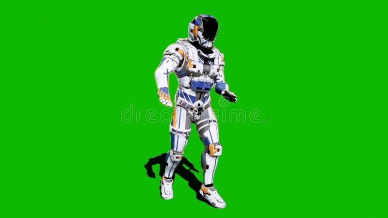 Żołnierz przyszłość, tanczy przed zielonym ekranem świadczenia 3 d ilustracja wektor
