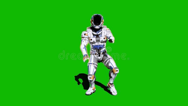 Żołnierz przyszłość, tanczy przed zielonym ekranem świadczenia 3 d ilustracji