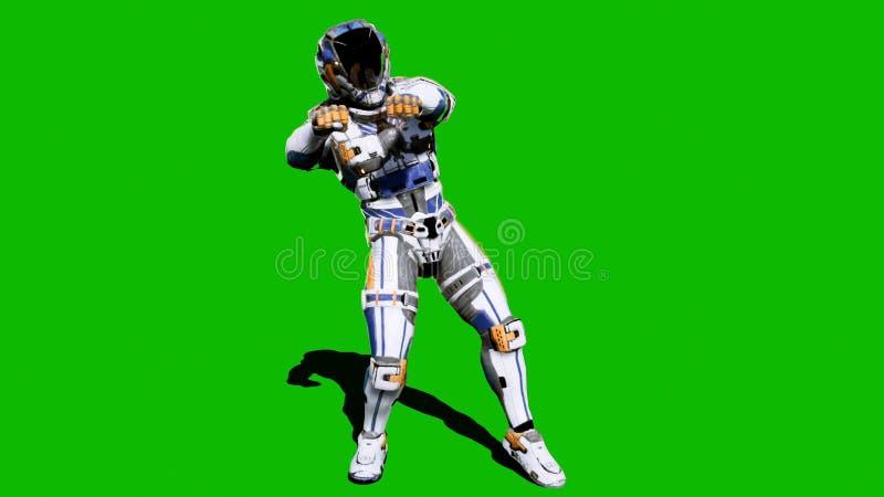 Żołnierz przyszłość, tanczy przed zielonym ekranem świadczenia 3 d royalty ilustracja