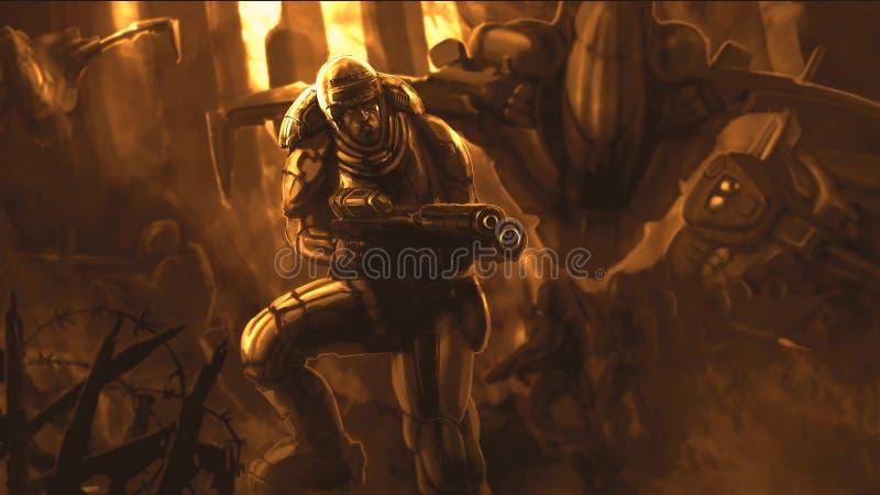 Żołnierz przyszłość w opancerzenie kostiumu ilustracja wektor