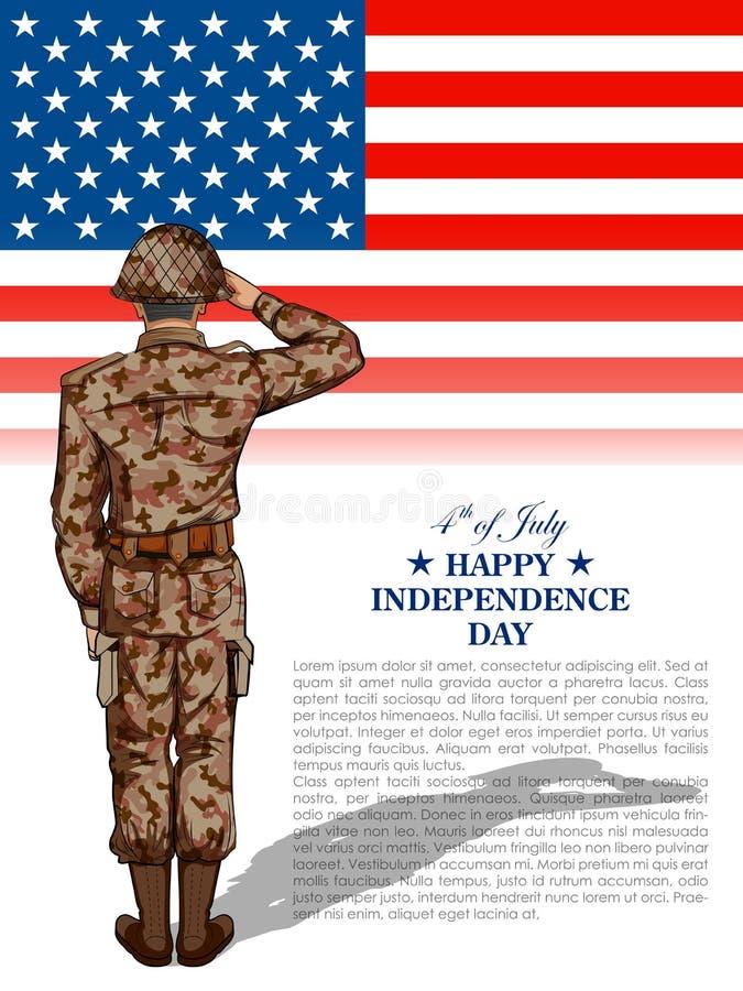Żołnierz salutuje dalej czwarty Lipa tło dla Szczęśliwego dnia niepodległości Ameryka ilustracji