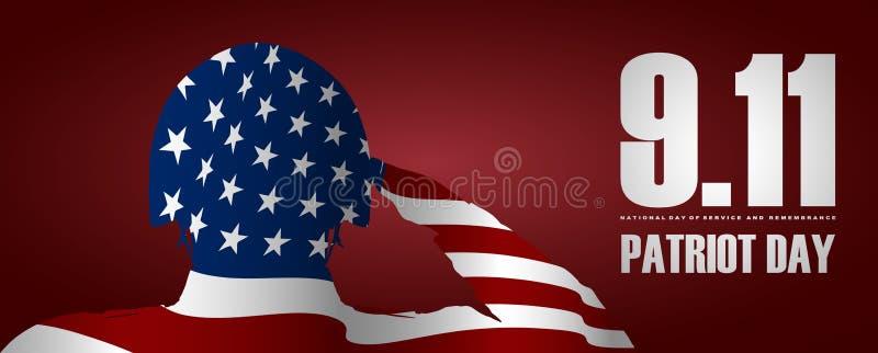 Żołnierz salutuje usa flaga dla patriota dnia Wrzesień 11 USA flaga jako tło ilustracji