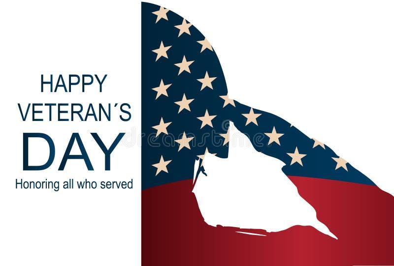Żołnierz sylwetka salutuje usa flaga dla dnia pamięci Szczęśliwy weterana ` s dnia plakat lub sztandary na Listopadzie 11 ilustracja wektor