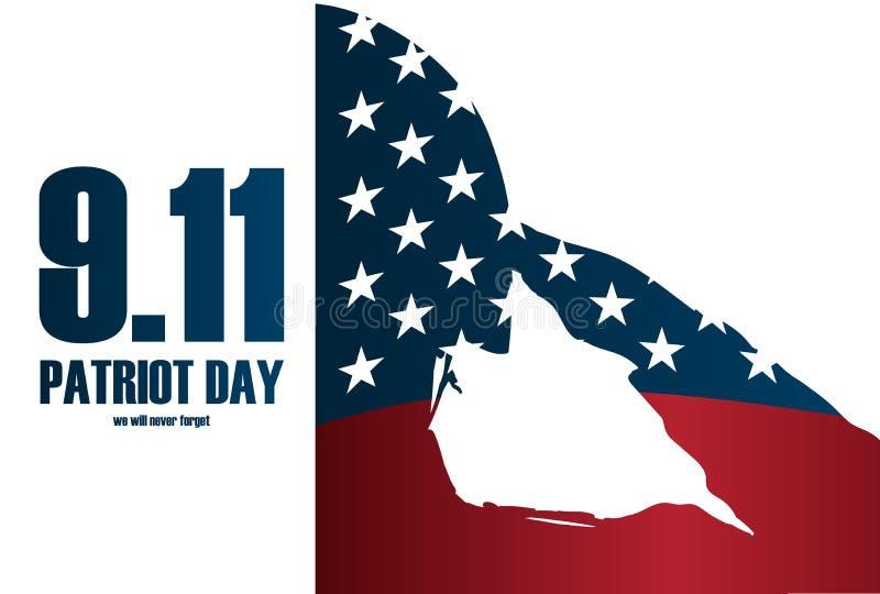 Żołnierz sylwetki dzień pamięci Patriota dnia plakat lub sztandaru †Na Wrześniu 11 ' ilustracja wektor
