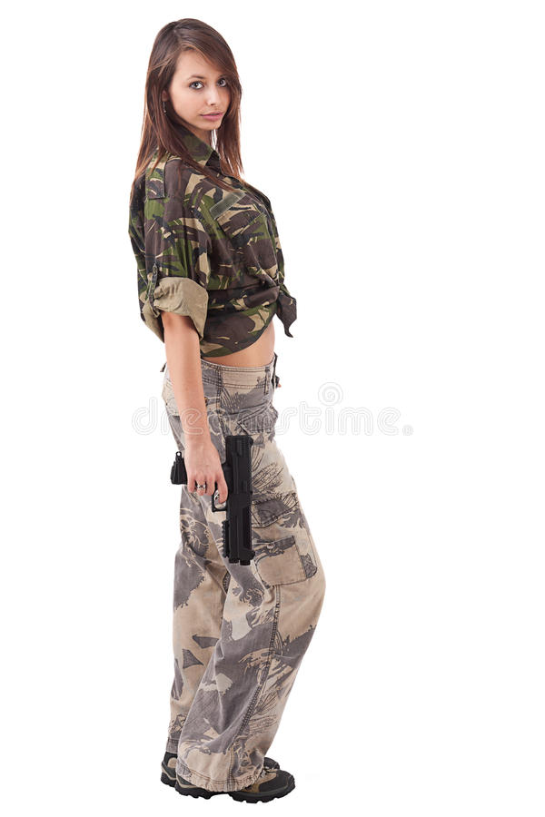 żołnierz TARGET805_0_ kobieta zdjęcia stock