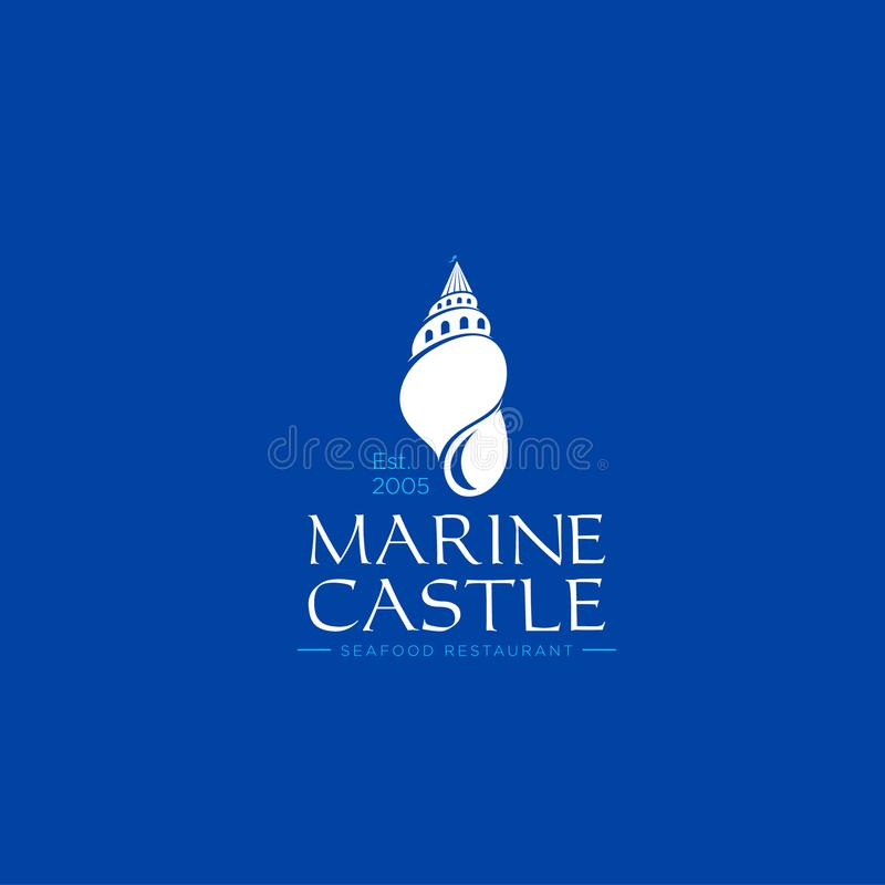 Żołnierza piechoty morskiej Grodowy logo Owoce morza restauraci emblemat Hotelu lub willi logo Łuska jak kasztel na błękitnym tle ilustracji