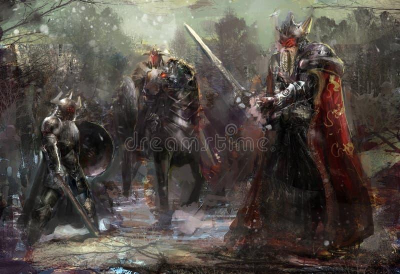 3 żołnierza w lesie royalty ilustracja