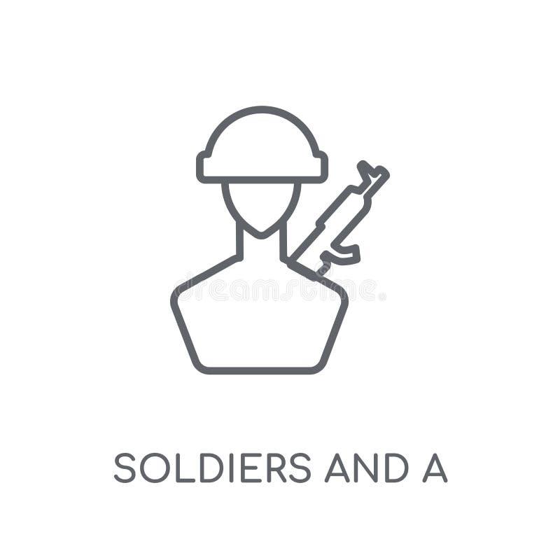 Żołnierze i broni liniowa ikona Nowożytni konturów żołnierze i a royalty ilustracja