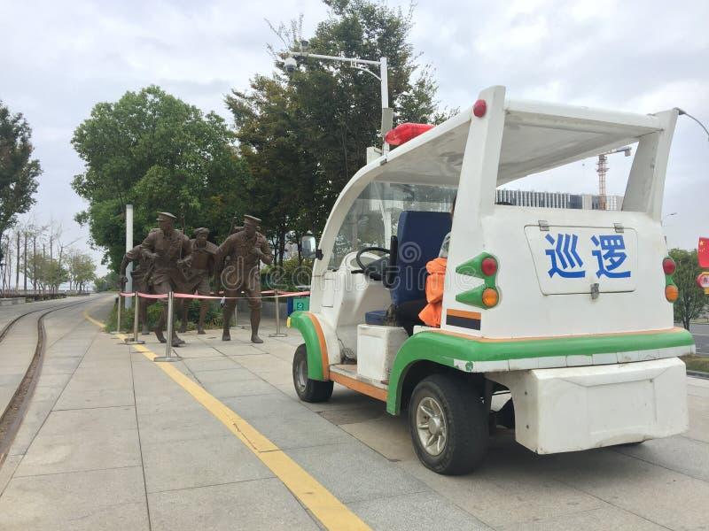 Żołnierze i egzekwowanie prawa nadzór bateryjni samochody rzeźbią fotografia stock