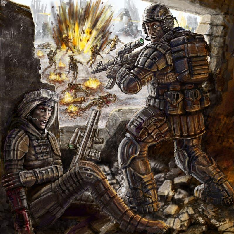 Żołnierze walczą daleko ataka chować w budynku ilustracji