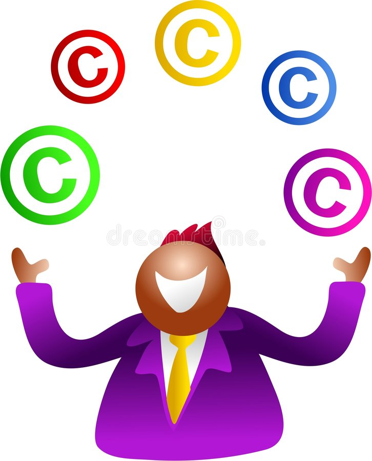 żonglerka praw autorskich ilustracja wektor
