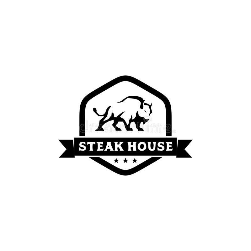 Żubra steakhouse logo projekta inspiracji wektoru szablon ilustracja wektor