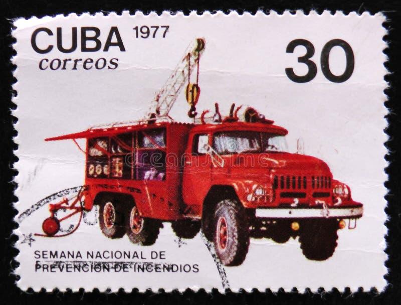 Żuraw ciężarówka, Wypadkowego prevenion auto seria około 1977, fotografia stock