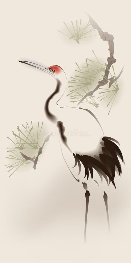 żuraw koronował orientalnego obrazu czerwieni styl royalty ilustracja