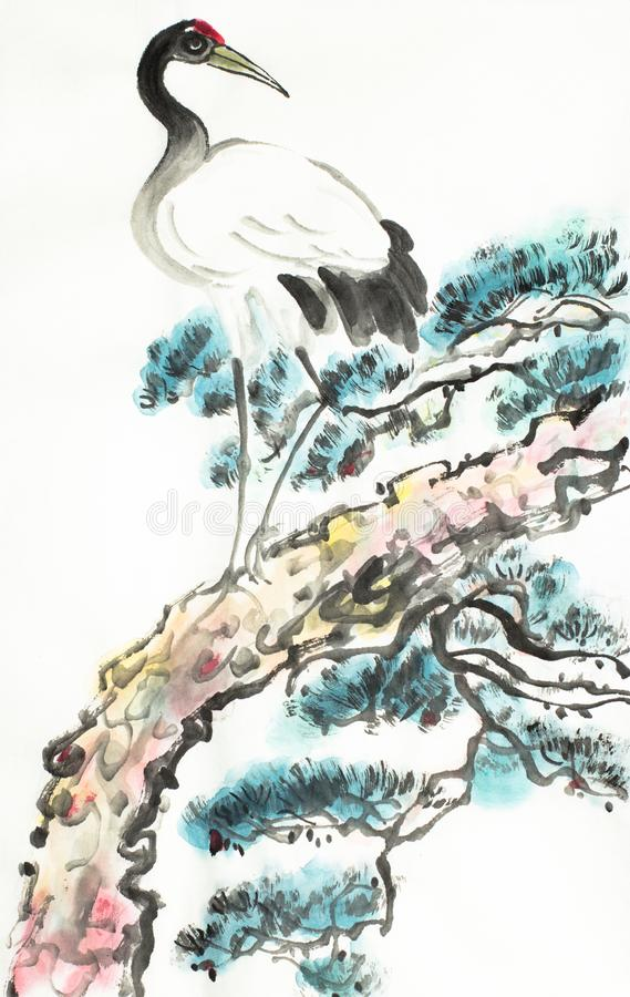 Żuraw na sosny gałąź royalty ilustracja