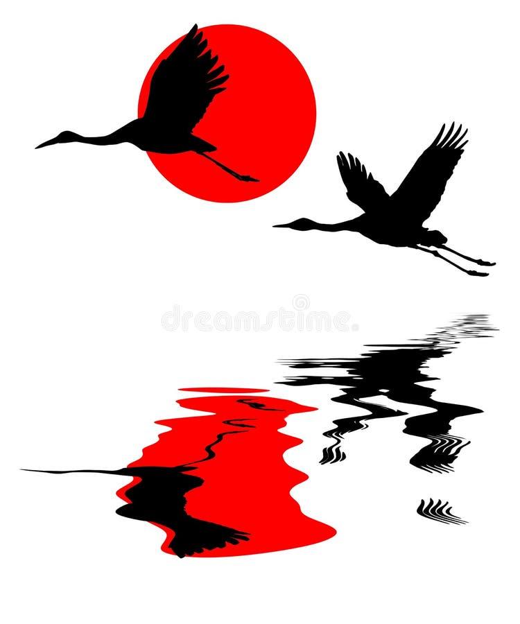 żurawia niebo ilustracja wektor