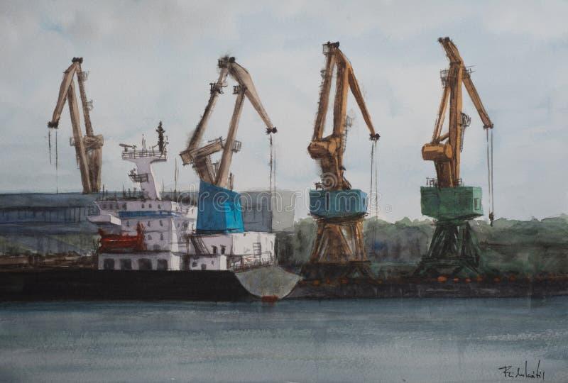 żurawia port morski royalty ilustracja