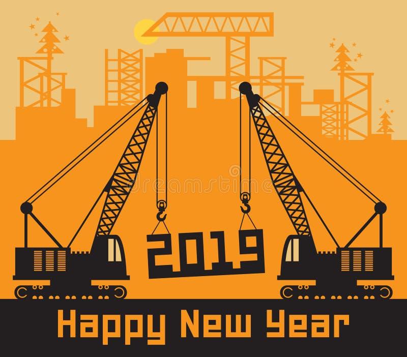 Żurawie, Szczęśliwa nowy rok karta ilustracja wektor