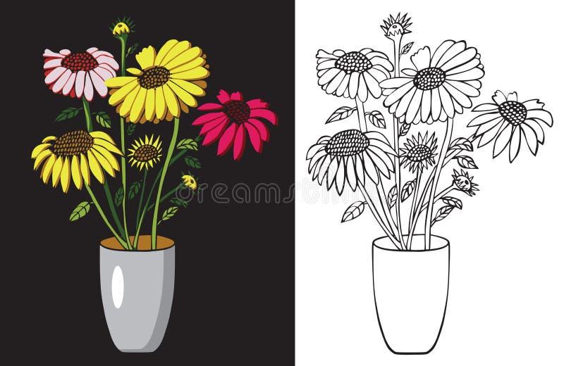 życia wciąż słoneczników wazy akwarela ilustracji