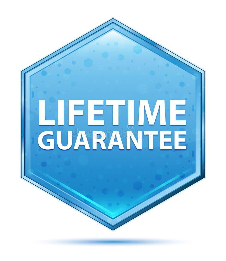 Życie gwarancji sześciokąta krystaliczny błękitny guzik ilustracji