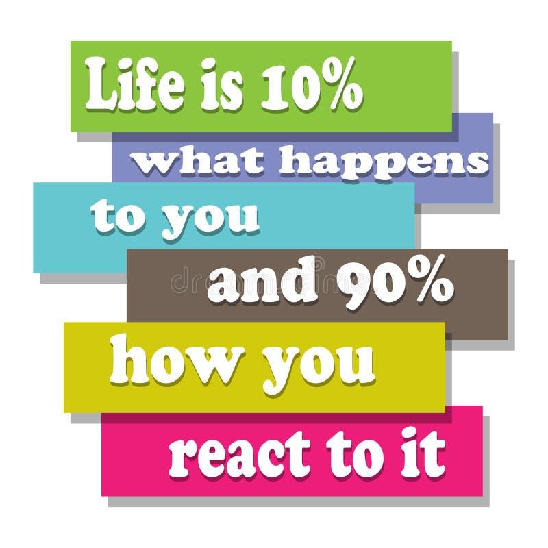 Życie jest 10% co zdarza się ty i 90% dlaczego ty reaguje ono royalty ilustracja