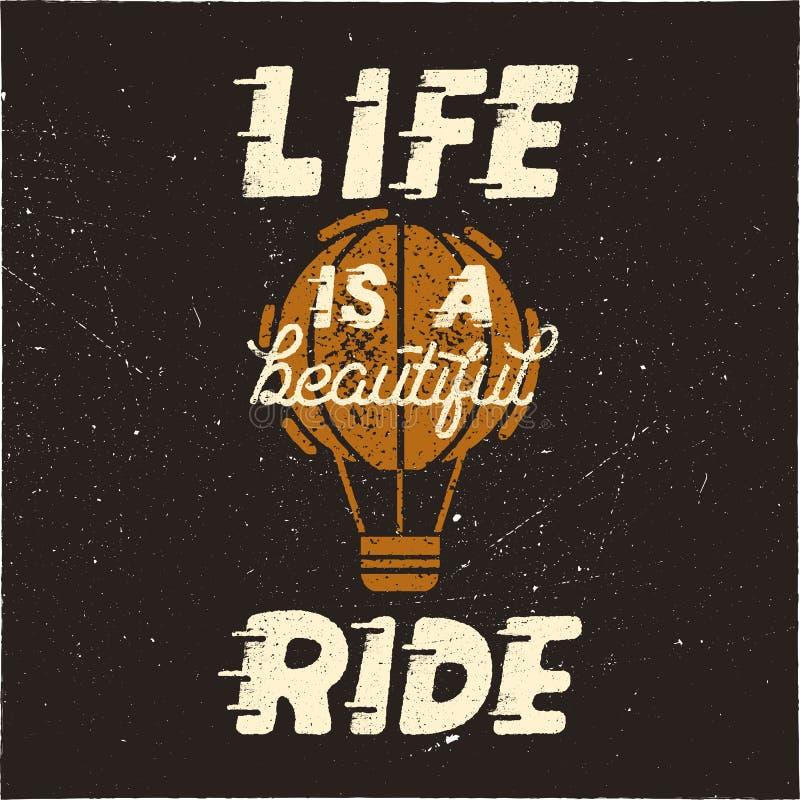 Życie jest pięknym przejażdżką Rocznik typografii projekta ręka rysujący plakat z gorącym balonem w retro zakłopotanym stylu ilustracja wektor