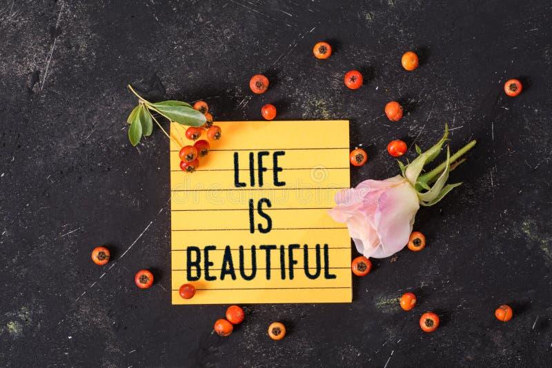 Życie jest pięknym tekstem w notatce obraz stock