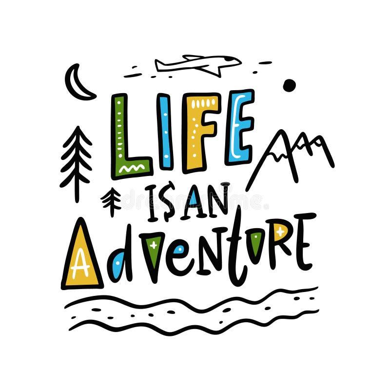 Życie jest przygody ręka rysującym wektorowym literowaniem i ilustracją pojedynczy bia?e t?o ilustracja wektor