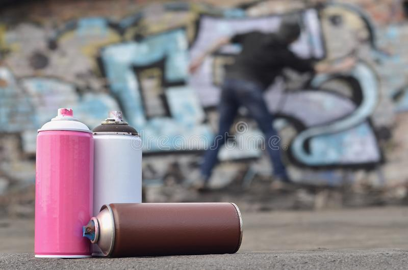 Życie kilka używać farb puszki różny koloru agai zdjęcia royalty free