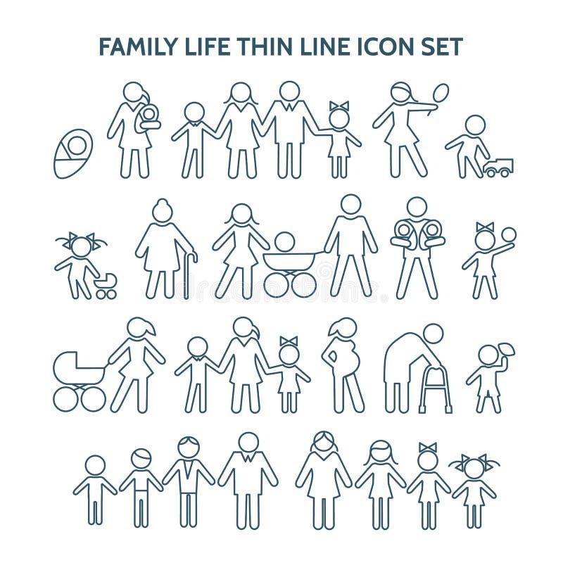 Życie rodzinne cienkie kreskowe ikony royalty ilustracja