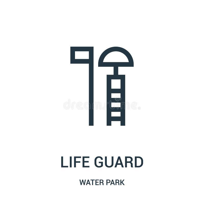 życie strażnika ikony wektor od woda parka kolekcji Cienka kreskowa życie strażnika konturu ikony wektoru ilustracja Liniowy symb ilustracja wektor