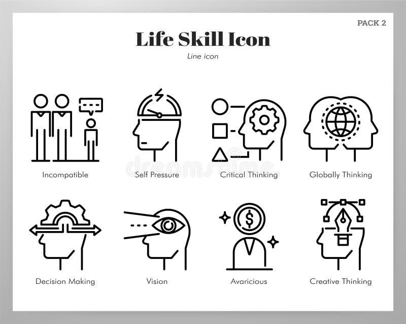 Życie umiejętności ikon linii paczka royalty ilustracja