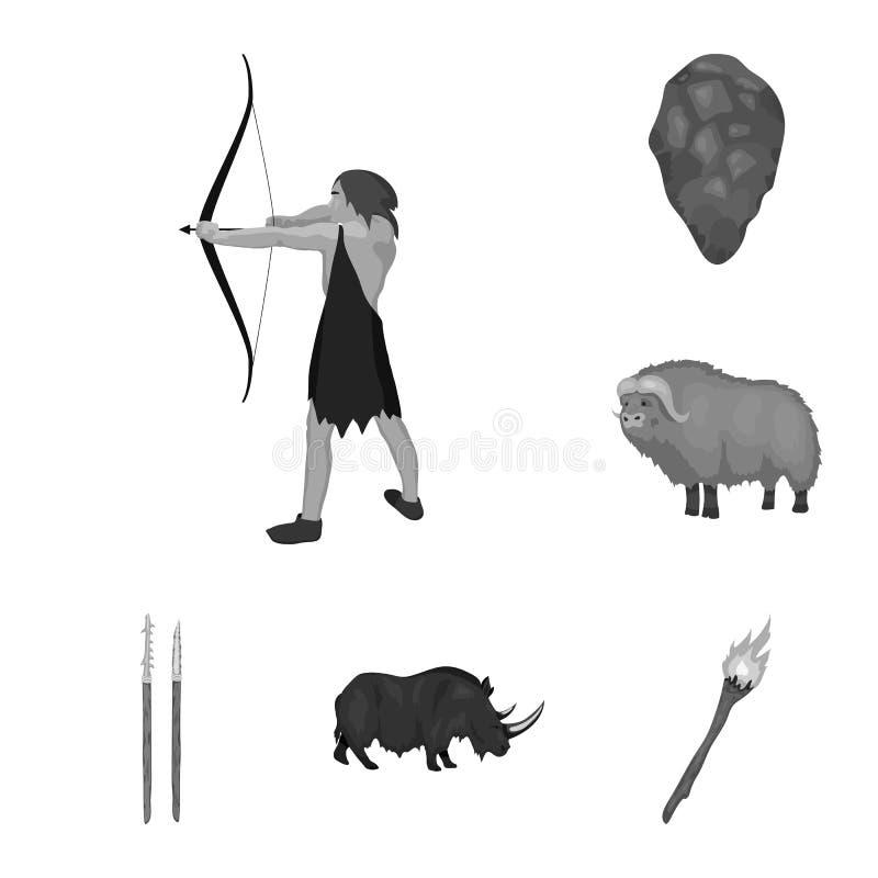 Życie w er kamienia łupanego monochromatycznych ikonach w ustalonej kolekci dla projekta Antyczni ludzie wektorowej symbolu zapas ilustracja wektor