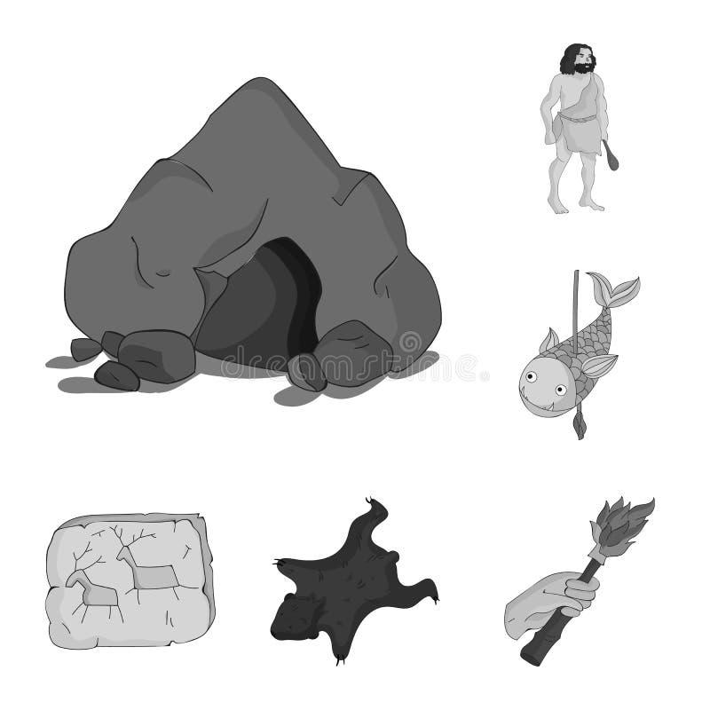 Życie w er kamienia łupanego monochromatycznych ikonach w ustalonej kolekci dla projekta Antyczni ludzie wektorowej symbolu zapas royalty ilustracja