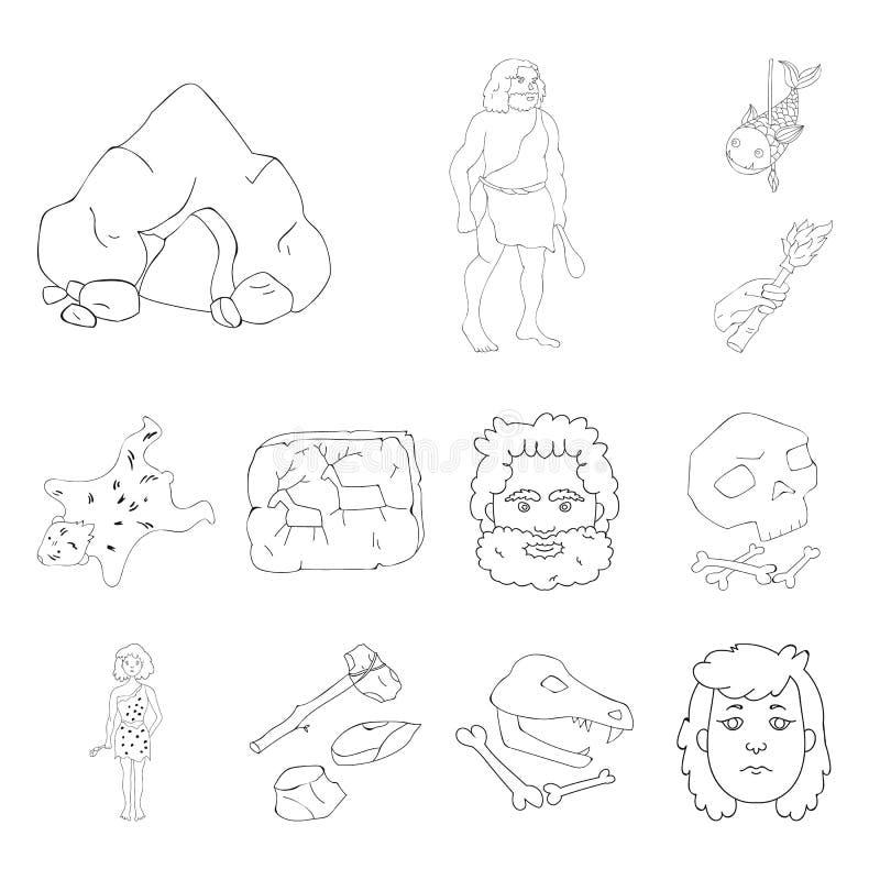 Życie w era kamienia łupanego konturu ikonach w ustalonej kolekci dla projekta Antyczni ludzie wektorowej symbolu zapasu sieci il royalty ilustracja