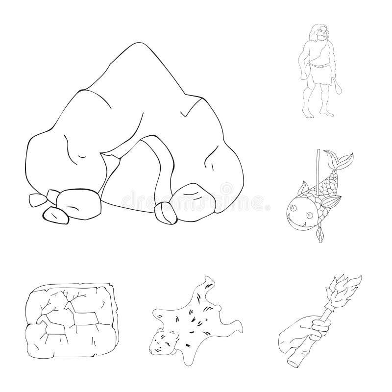 Życie w era kamienia łupanego konturu ikonach w ustalonej kolekci dla projekta Antyczni ludzie wektorowej symbolu zapasu sieci il ilustracja wektor