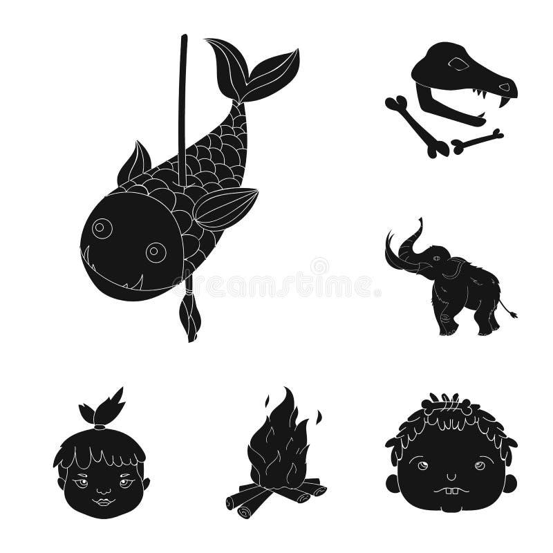 Życie w ery kamienia łupanego czerni ikonach w ustalonej kolekci dla projekta Antyczni ludzie wektorowej symbolu zapasu sieci ilu royalty ilustracja
