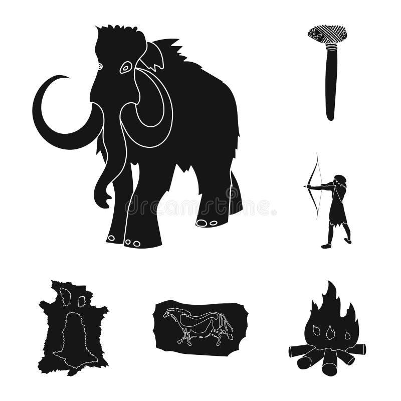 Życie w ery kamienia łupanego czerni ikonach w ustalonej kolekci dla projekta Antyczni ludzie wektorowej symbolu zapasu sieci ilu ilustracji