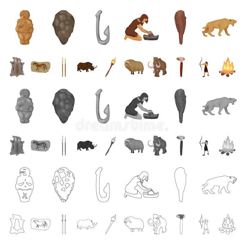 Życie w ery kamienia łupanego kreskówki ikonach w ustalonej kolekci dla projekta Antyczni ludzie wektorowej symbolu zapasu sieci  ilustracja wektor