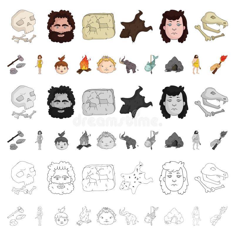 Życie w ery kamienia łupanego kreskówki ikonach w ustalonej kolekci dla projekta Antyczni ludzie wektorowej symbolu zapasu sieci  royalty ilustracja