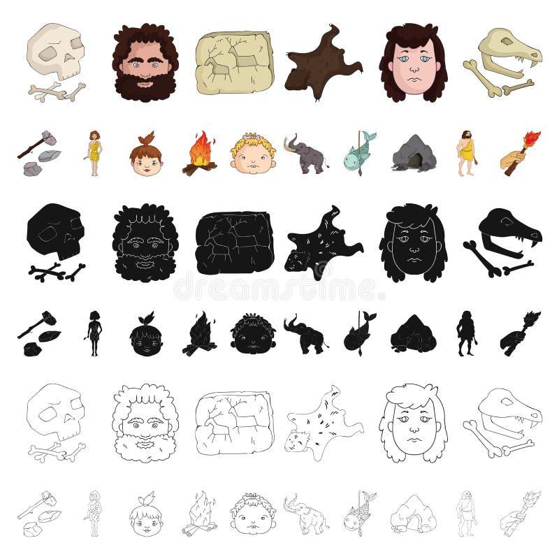 Życie w ery kamienia łupanego kreskówki ikonach w ustalonej kolekci dla projekta Antyczni ludzie wektorowej symbolu zapasu sieci  ilustracji