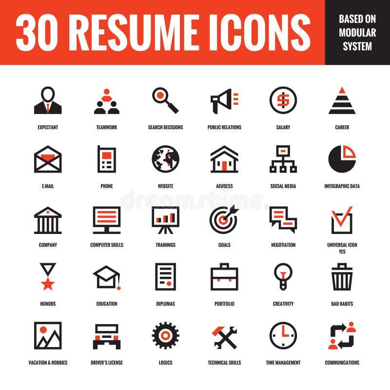 30 życiorysów kreatywnie wektorowych ikon opierających się na modularnym systemu Set 30 biznesowych pojęcie wektoru ikon royalty ilustracja