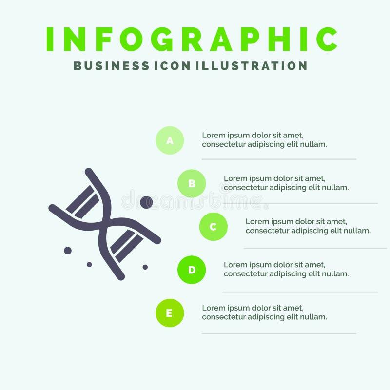 Życiorys, Dna, genetyka, technologii ikony Infographics 5 kroków prezentacji Stały tło ilustracja wektor