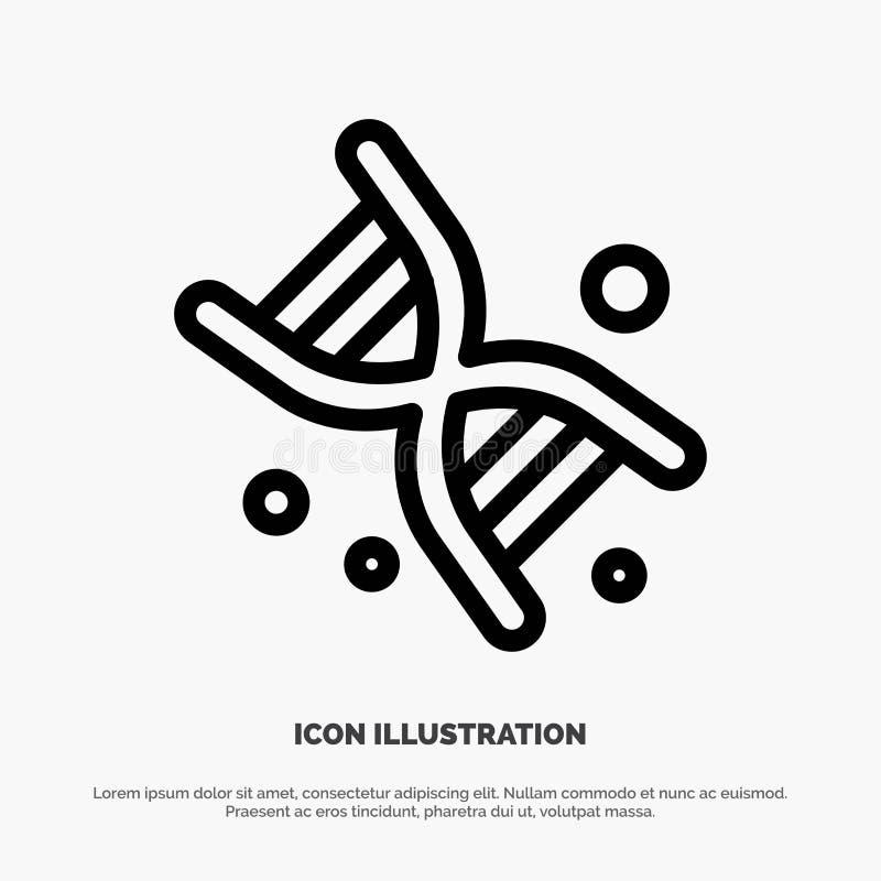 Życiorys, Dna, genetyka, technologii ikony Kreskowy wektor ilustracja wektor