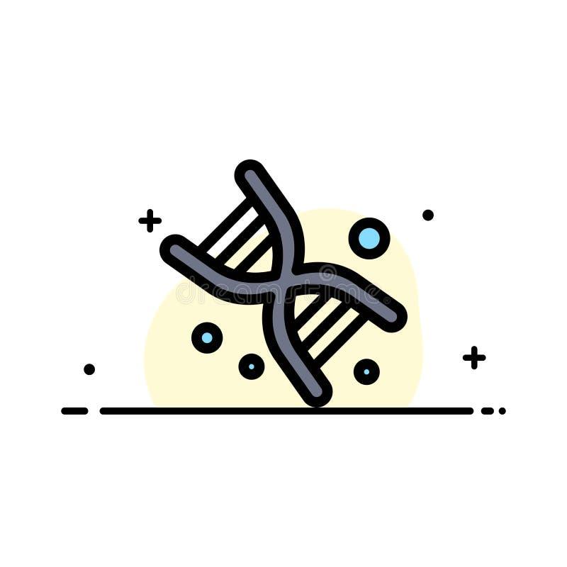 Życiorys, Dna, genetyka, technologii mieszkania ikony sztandaru Biznesowa linia Wypełniający Wektorowy szablon royalty ilustracja