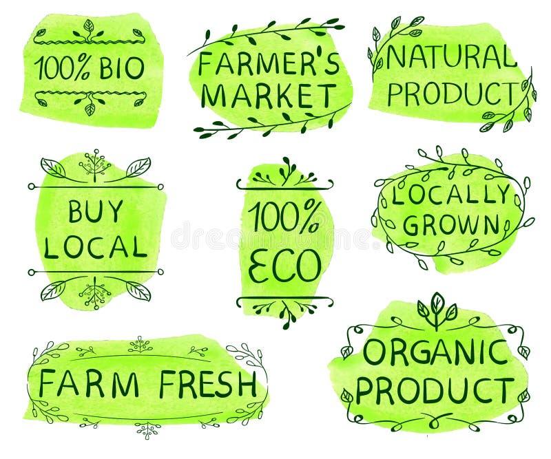100 życiorys, eco, zakupu miejscowy, średniorolny ` s rynek, naturalny produkt, w okolicy r, rolny produkt, świeży, organicznie,  ilustracja wektor